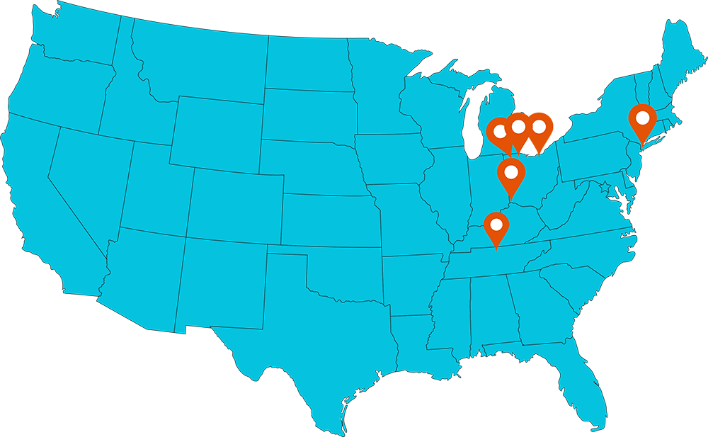 united states map with endevis locations
